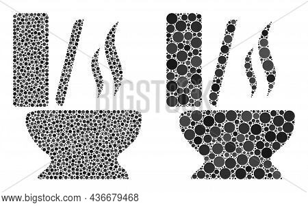 Dot Toilet Smell Icon. Collage Toilet Smell Icon Organized From Circle Items In Different Sizes And