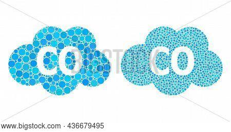 Dot Carbon Monoxide Icon. Mosaic Carbon Monoxide Icon Constructed From Circle Elements In Random Siz