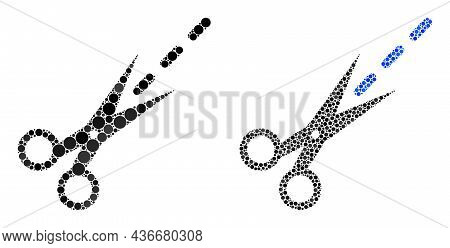Pixelated Scissors Line Icon. Collage Scissors Line Icon Composed Of Spheric Parts In Different Size