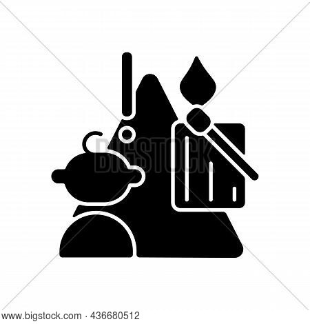 Child And Matches And Candles Black Glyph Icon. Kid Playing With Matches. Do Not Let Children Play W