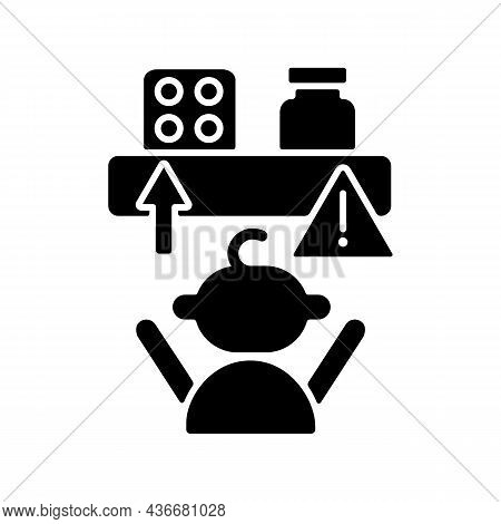 No Access To Medicine Black Glyph Icon. Child Security At Home. Medication Poisoning Prevention. Kee