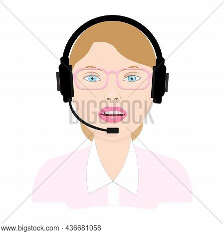Call Center Woman Operator Wearing Eyeglasses With Headset. Vector Illustration