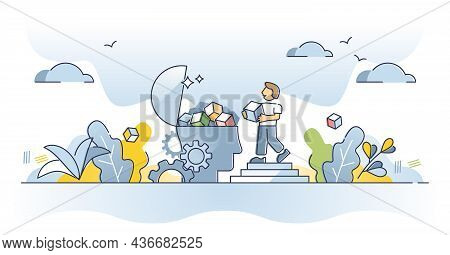 Memory - Intellectual Process Of The Mind And Brains, Vector Outline Concept. Diagnosis Of The Human