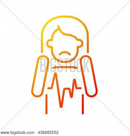 Heart Palpitations Gradient Linear Vector Icon. Fast Beating And Fluttering Heart. Health Problem. M