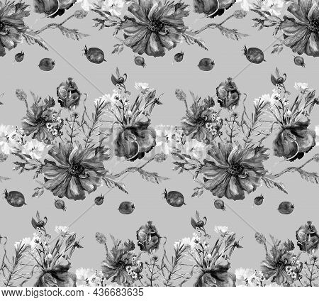 Black And White Watercolor Pattern With Wildflowers And Poppies And Scattered Hawthorns On A Light G