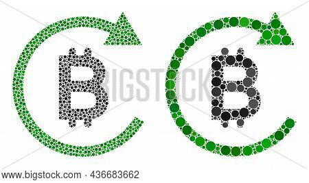 Dotted Bitcoin Repay Icon. Mosaic Bitcoin Repay Icon Composed Of Circle Elements In Random Sizes And
