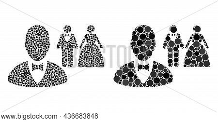Pixelated Marriage Officiant Icon. Collage Marriage Officiant Icon United From Spheric Parts In Vari