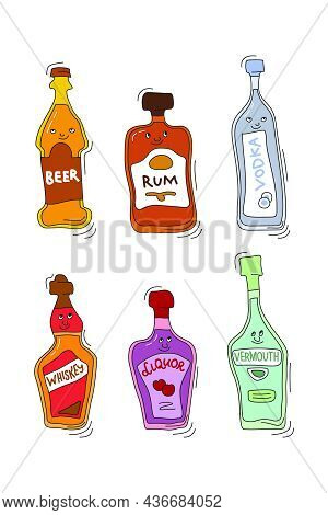 Beer Rum Vodka Whiskey Liquor Vermouth With Smile On White Background. Cartoon Sketch Graphic Design
