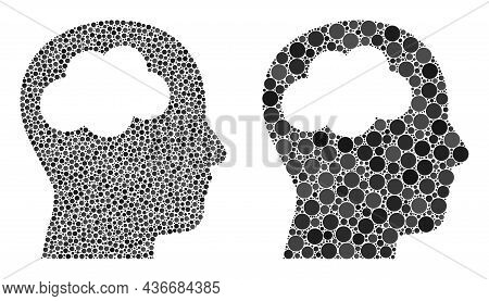 Dotted Head Brain Icon. Mosaic Head Brain Icon Designed From Spheric Items In Different Sizes And Co
