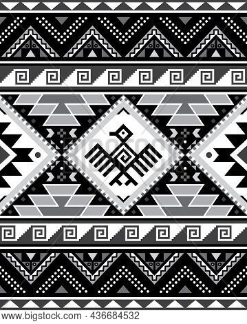 Aztec Tribal Geometric Seamless Vector Pattern With Bird And Triangles - Peruvian Rug Or Carpet Styl