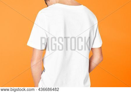 Back view of a boy's white t-shirt