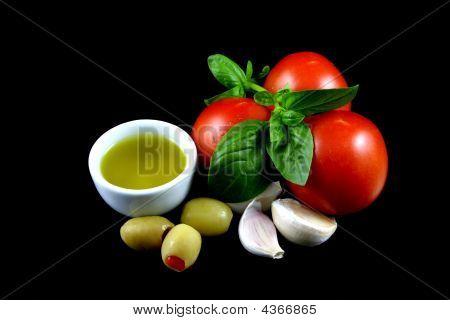 Tomato, Basil, Garlic, Olives