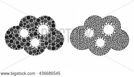 Dotted Virus Cloud Icon. Mosaic Virus Cloud Icon Constructed From Spheric Items In Different Sizes A