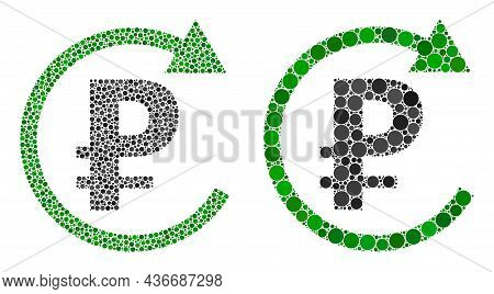 Pixel Rouble Repay Icon. Mosaic Rouble Repay Icon Composed Of Spheric Items In Different Sizes And C