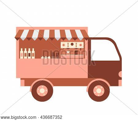 Coffee Food Truck, Cafe Shop On Street City. Van With Coffee Automate And Other Hot Beverage. Vector