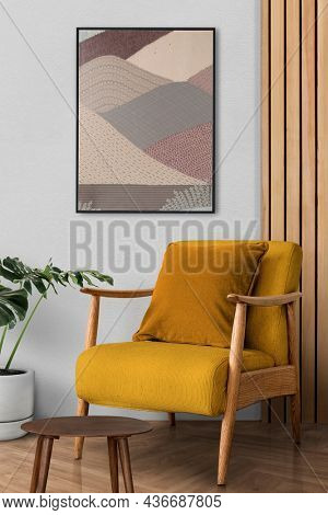 Retro living room interior design with a mid-century armchair
