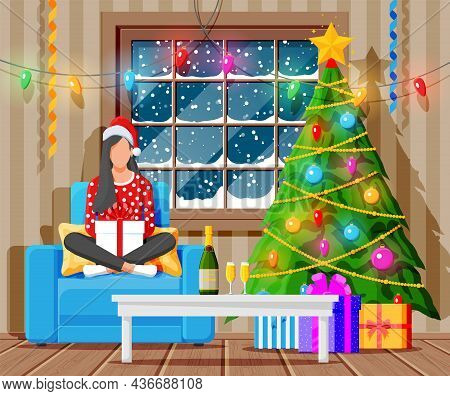 Cozy Interior Of Living Room With Window, Girl On Armchair, Table, Christmas Tree. Happy New Year De