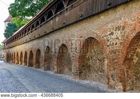 Old Red Bricks Defence Wall On Strada Cetatii (citadel Street) In The Historical Center Of The Sibiu