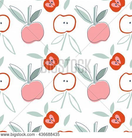 Apple Fruit Seamless Pattern. Childish Cutting Style Apples With Leaf Hand Drawn Repeated Backdrop.