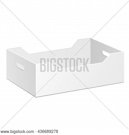 Mockup Recycled Fruit, Vegetable Product Cardboard Package Box. Illustration Isolated On White Backg