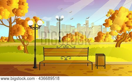 City Autumn Park With Orange Trees Bench, Walkway And Lantern. Town And City Park Landscape Nature.