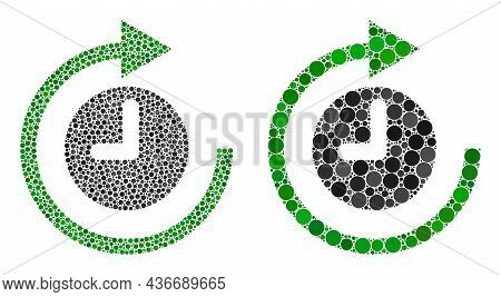 Dot Clockwise Rotation Icon. Mosaic Clockwise Rotation Icon Constructed From Round Elements In Vario