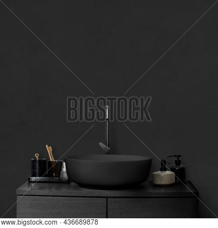 Black luxury wash basin bathroom interior design