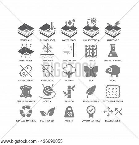 Fabric Material Feature Vector Icon Set. Fabrics Features And Properties Black Glyph Symbols.