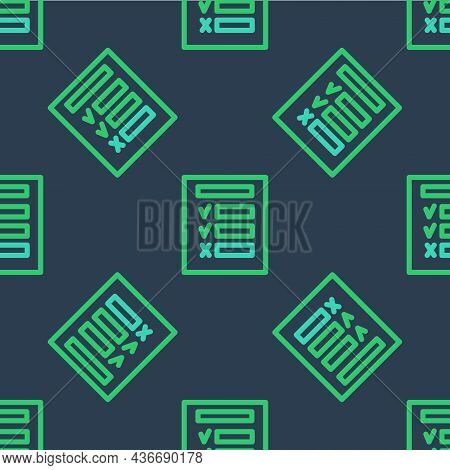 Line Car Inspection Icon Isolated Seamless Pattern On Blue Background. Car Service. Vector