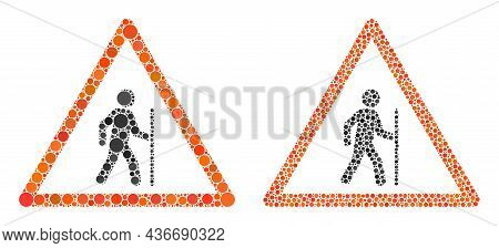 Pixelated Hiking Warning Icon. Collage Hiking Warning Icon Organized From Circle Elements In Various