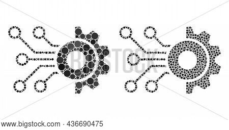 Pixel Gear Circuit Icon. Mosaic Gear Circuit Icon Designed From Circle Parts In Random Sizes And Col