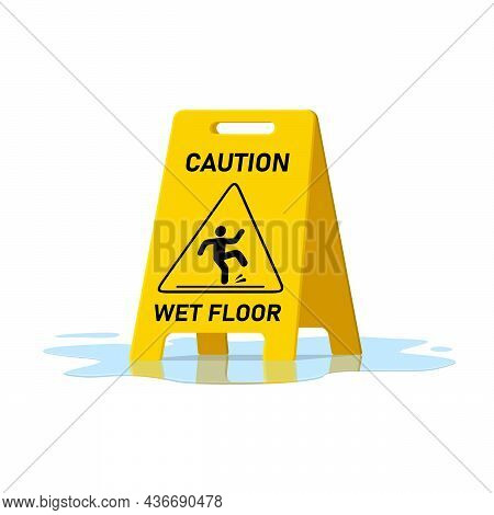 Wet Floor Caution Sign And Water Puddle Isolated On White Background, Public Warning Yellow Symbol C
