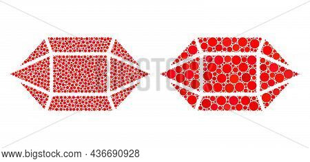 Pixelated Ruby Crystal Icon. Mosaic Ruby Crystal Icon Designed From Round Elements In Random Sizes A