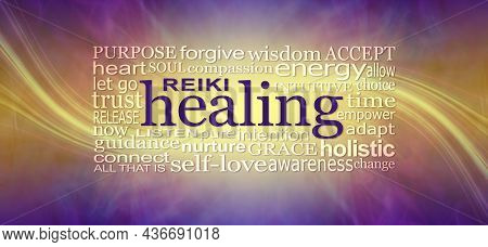 Reiki Healing Words Wall Art Banner - Deep Purple And Gold Background With A Sweeping Energy Line Th