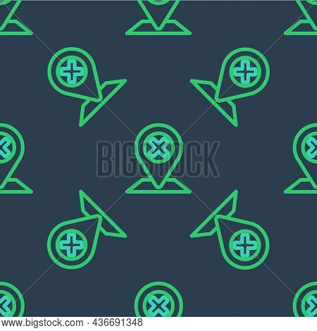 Line Map Pin Icon Isolated Seamless Pattern On Blue Background. Navigation, Pointer, Location, Map,