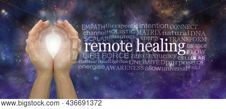 High Frequency Remote Healing Word Tag Cloud - Cupped Hands With White Light Beside A Remote  Healin