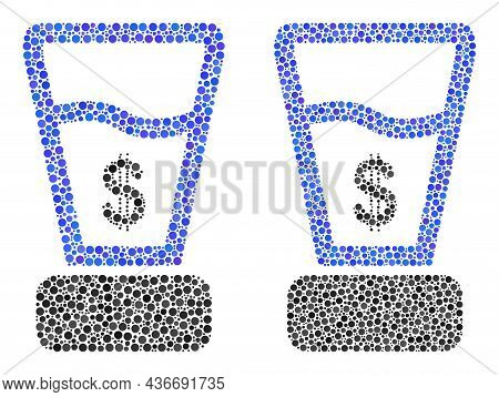 Dot Dollar Mixer Icon. Collage Dollar Mixer Icon Composed Of Circle Elements In Random Sizes And Col