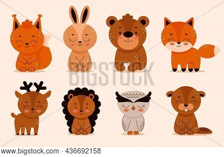 Set Of Forest Animals In Cartoon Style, Hedgehog, Bear, Hare, Fox, Beaver, Bear, Owl. Woodland. Cute
