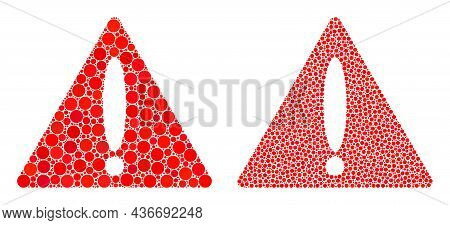 Pixelated Warning Triangle Icon. Mosaic Warning Triangle Icon United From Circle Parts In Different
