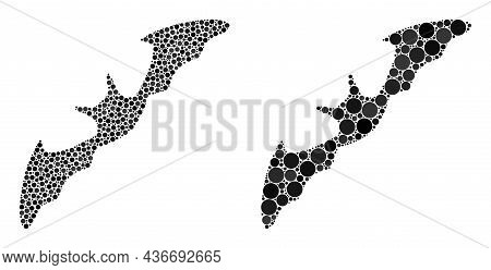 Dot Flying Bat Icon. Mosaic Flying Bat Icon United From Circle Elements In Various Sizes And Color H