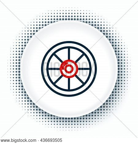 Line Round Wooden Shield Icon Isolated On White Background. Security, Safety, Protection, Privacy, G