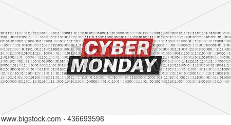 Cyber Monday Promotion Poster Template. White Background With Binary Code Strings. Vector Illustrati