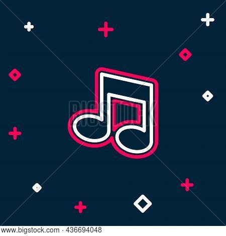 Line Music Note, Tone Icon Isolated On Blue Background. Colorful Outline Concept. Vector