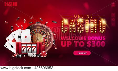 Online Casino, Banner For Website With Interface Elements, Symbol With Gold Lamp Bulbs, Slot Machine