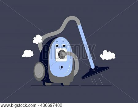 Vacuum Cleaner Character Concept. Isolated Cartoon Vacuum Cleaner With Clouds. Vector Flat Illustrat