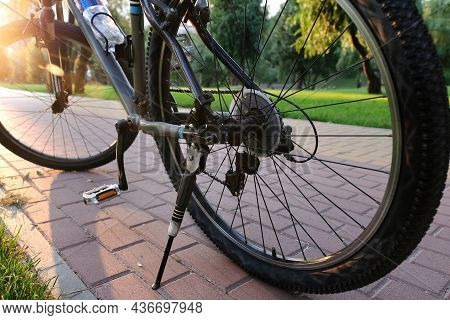 Bike On The Road Of The City Park, Close-up. Bicycle Concept And Ecology Of Life