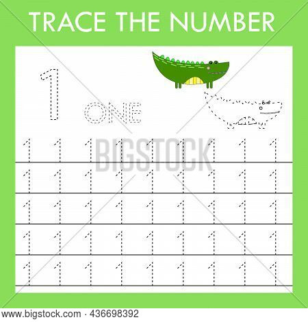 Number One Stroke Worksheet With Animals Crocodiles For Fine Motor Skills Kids. Educational Game For