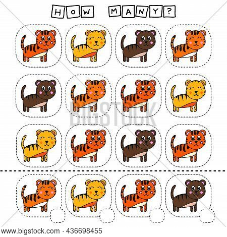 How Many Counting Game With Funny Tigers. Worksheet For Preschool Kids, Kids Activity Sheet, Printab