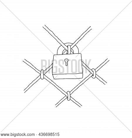 Hand-drawn Black Vector Illustration Of Metallic Lock Located On A Metal Grille Isolated On A White
