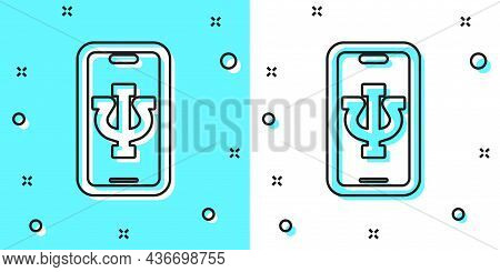 Black Line Online Psychological Counseling Distance Icon Isolated On Green And White Background. Psy